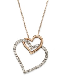 Macy's Diamond Double Heart Pendant Necklace In 10K Rose Gold 1 4 Ct. T.W.