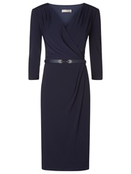 Planet Wrap Front Belted Dress Navy