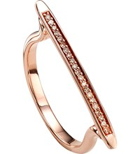 Monica Vinader Skinny 18 Ct Rose Gold Plated Vermeil And Diamond Ring
