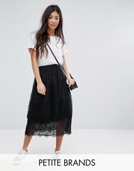 New Look Petite Tulle Lace Trim Midi Skirt Blue