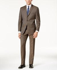 Michael Kors Men's Classic Fit Tan And Blue Plaid Suit Brown Tan