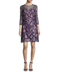 Marchesa 3 4 Sleeve Embroidered Floral Mesh Cocktail Dress Navy Purple