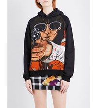 Christopher Kane Graphic Print Stretch Jersey Hoody Femail Police Print