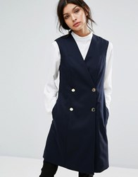 Jaeger Double Breasted Gilet Navy