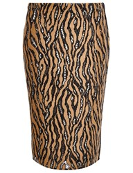 3.1 Phillip Lim Camel Tiger Print Pencil Skirt Beige