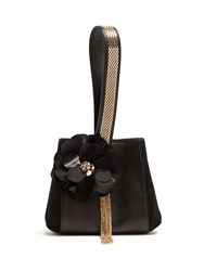 Lanvin Flower Applique Leather And Suede Clutch Black