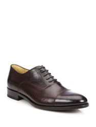 Saks Fifth Avenue Collection Tyler Leather Cap Toe Oxfords Black Brown Ciccolato