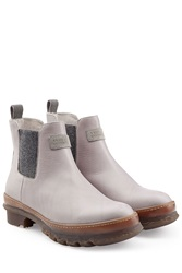 Brunello Cucinelli Leather Ankle Boots With Gripped Rubber Sole Grey