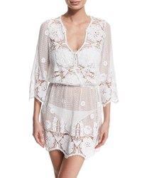 Miguelina Gertrude Netted Lace Dress Coverup Pure White
