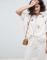 Intropia Needlepoint Embroidered Fruit Blouse Cream