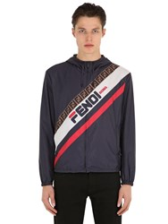 Fendi Mania Hooded Jacket Blue Red