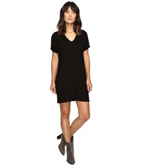 Lilla P Stretch Jersey Short Sleeve V Neck Dress Black Women's Dress