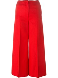 Sonia Rykiel Wide Leg Cropped Trousers Red