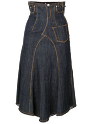 Jean Paul Gaultier Vintage Denim Midi Skirt Blue