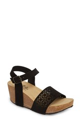 Bos. And Co. Lolo Platform Wedge Sandal Black Suede