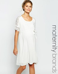 Mama Licious Mamalicious Shift Dress With Lace Detail Sleeves White
