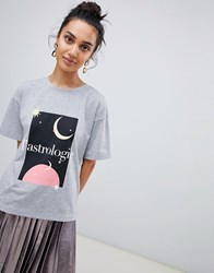 Neon Rose Relaxed Tshirt With Astrologie Art Print Grey Marl
