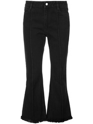 Sandy Liang Cropped Flared Jeans Black
