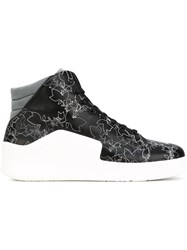 Emporio Armani Floral Hi Top Sneakers Men Leather Polyester Rubber 6 Black