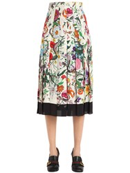 Gucci Floral Printed Pleated Silk Crepe Skirt