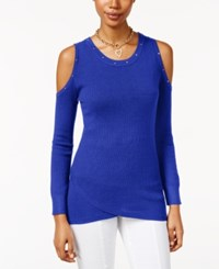 Thalia Sodi Cold Shoulder Sweater Only At Macy's Lazulite