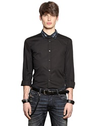 Diesel Denim Collar Stretch Cotton Poplin Shirt Black