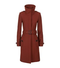 Burberry Belted Wool Coat Female Red