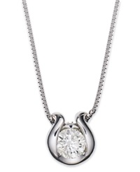 Macy's Sirena Bezel Set Diamond Pendant Necklace In 14K White Gold 1 5 Ct. T.W.