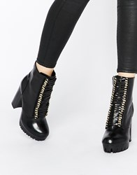 River Island Chunky Lace Up Boot Black
