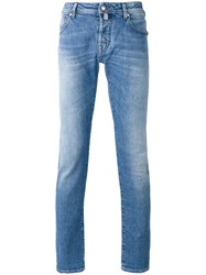 Jacob Cohen Faded Slim Fit Jeans Men Cotton Spandex Elastane 34 Blue