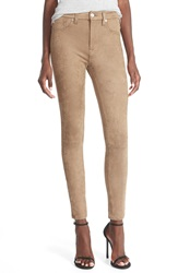 7 For All Mankind Snakeskin Embossed Faux Leather Pants Mocha Snake