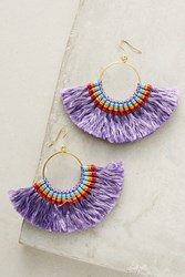 Anthropologie Josephina Tassel Hoop Earrings Purple Motif