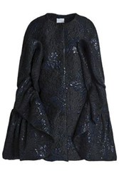 Delpozo Cape Effect Ruffled Brocade Coat Black