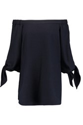 Tibi Owen Off The Shoulder Twill Tunic Navy