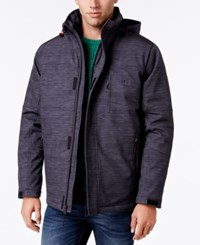 Izod Men's Systems Soft Shell Hooded Jacket Charcoal Melange Black