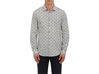 John Varvatos Men's Striped And Floral Cotton Linen Shirt Grey White Grey White
