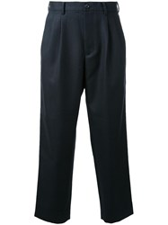 En Route Pleated Detailing Cropped Trousers Black