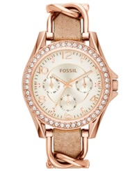 Fossil Women's Riley Rose Gold Tone Chain And Bone Leather Strap Watch 38Mm Es3466