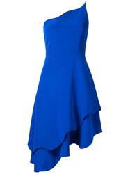 Christian Siriano Scalloped One Shoulder Dress Blue