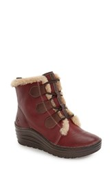 Bionica Women's 'Genova' Wedge Bootie Russet Red Tumbled Leather