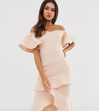 True Violet Off The Shoulder Frill Midi Bodycon Dress Pink