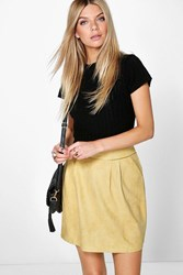 Boohoo Suedette A Line Mini Skirt Yellow