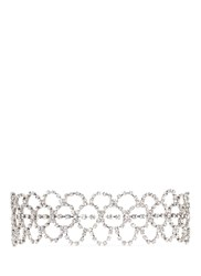 Kenneth Jay Lane Glass Crystal Lace Collar Necklace White