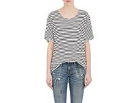 R 13 R13 Women's Rosie Striped Cotton T Shirt Black White Pink