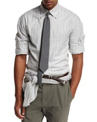 Brunello Cucinelli Striped Woven Oxford Shirt Gray