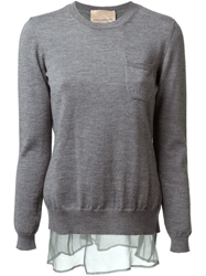 Erika Cavallini Semi Couture Open Back Layered Sweater Grey