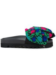 Joshua Sanders Floral Bow Pool Slides Black