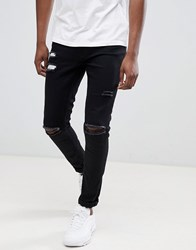 Ringspun Super Skinny Jeans With Ultra Rips Black