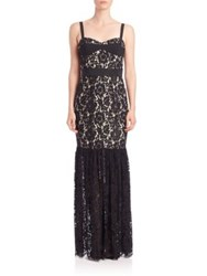 Milly Dahlia Floral Lace Bustier Gown