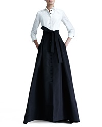 Carolina Herrera Shirtwaist Taffeta Ball Gown Black Ivory 12